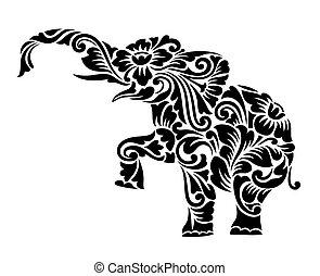 裝飾, 大象, 裝飾品, 植物