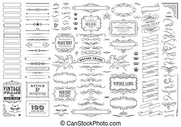 裝飾, 巨大, 集合, 彙整, 矢量, 設計, 或者, 元素