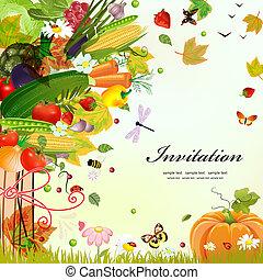 裝飾, 明信片, 設計, 蔬菜, 樹