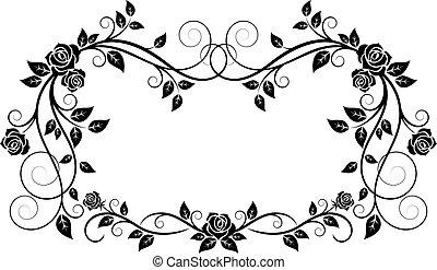 裝飾, 框架, 花, 上升