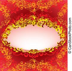 裝飾, 植物, 框架, 紅色