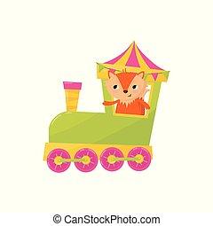 裝飾, 漂亮, 明信片, character., 設計, 旅行, 孩子, 很少, 玩具, train., 狐狸, 動物, 商店, 套間, 鮮艷, 海報, book., 卡通, 元素, s, 矢量, 或者