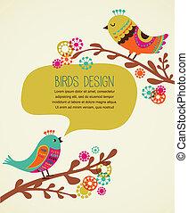 裝飾, 漂亮, 背景, 鮮艷, 鳥