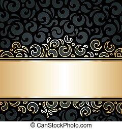 裝飾, 牆紙, 黑色, 金, &