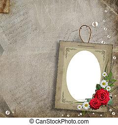 裝飾, 珍珠, 框架, 花, 老