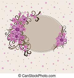 裝飾, 粉紅色, 框架, 植物