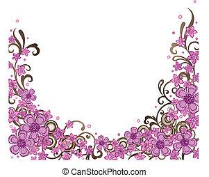 裝飾, 粉紅色, 邊框, 植物