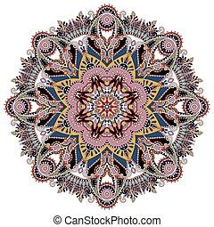 裝飾, 精神上, 蓮花, 符號, 壇場, 印第安語, 環繞