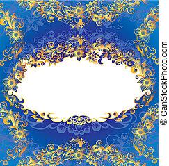 裝飾, 藍色, 框架, 植物