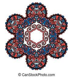 裝飾, 藍色, 精神上, 矢量, 花, 輪, 蓮花, 在上方, 裝飾品, 圓圖樣, color., 被風格化, 壇場, 印第安語, 插圖, 背景, 白色, 符號, 紅色, 部落