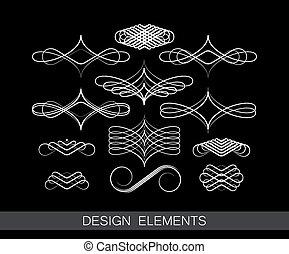 裝飾, 集合, 藝術, 矢量, 設計, 線, 元素