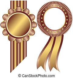 裝飾, 黃金, 咖啡, 框架, (vector)