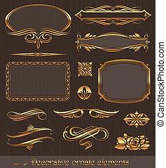 裝飾, 黃金, 舞台裝飾, 元素, &, 矢量, 設計, 頁