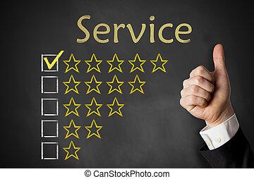 規定值, 服務, 向上, 拇指, 星, 黑板