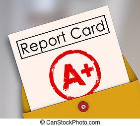 規定值, 等級, a+, 頂部, 得分, 加上, 報告, 評估, 回顧, 卡片