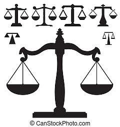 規模, 正義, 矢量, 黑色半面畫像