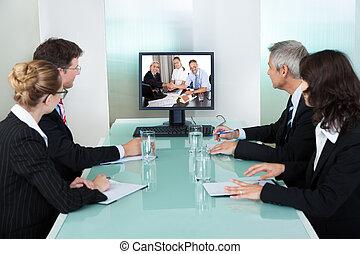 觀看, 表達, businesspeople, 在網上