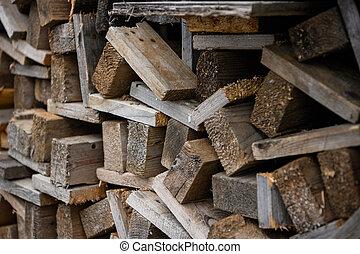 觀點。, 一, work., 堆積, 邊, one., 木制, 建設, 板