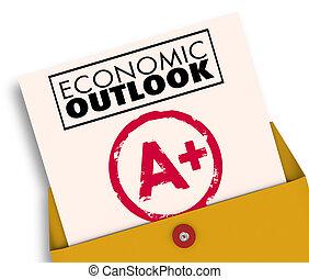 觀點, 偉大, 預報, 經濟, 加上, 報告, 新聞, 卡片, 經濟
