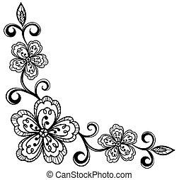 角落, flowers., bla, 帶子, 裝飾