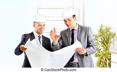 計劃, hardhat, 建築師, 談話, 隊, 二, 工程師, 專門技能