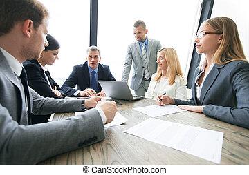 討論生意, 合同, 人們