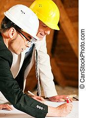 討論, 建設, 建筑師計划, 工程師
