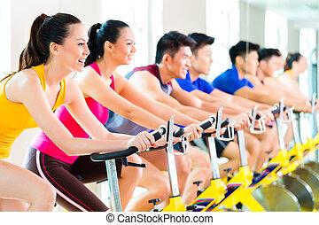 訓練, 人們, 體操, 旋轉, 自行車, 亞洲人, 健身
