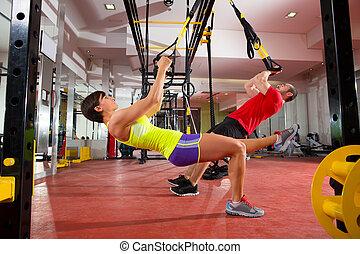 訓練, 婦女, 體操, trx, 健身, 鍛煉, 人
