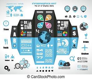 記號, 集合, -, 紙, infographic, 技術 像, 元素