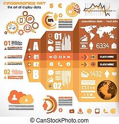 記號, 集合, icons..., -, 紙, infographic, 技術, 元素