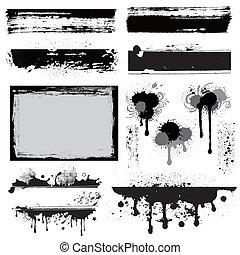 設計元素, grunge, 墨水