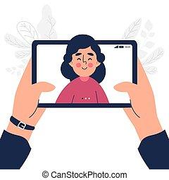 設計, 向上, 閒談, 關閉, 片劑, 套間, 電話, 婦女, 影像, 談話