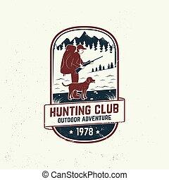 設計, 尋找, 印刷品, forest., 戶外, 俱樂部, 象征, 獵人, 標簽, 打獵, badge., 概念, 槍, 矢量, 集合, 印刷術, stamp., 冒險, 襯衫, 山, 狗, 葡萄酒