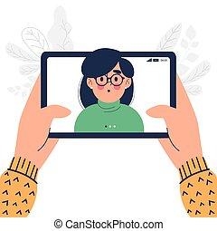 設計, 愉快, 向上, 個人電腦, 關閉, 人, 片劑, 套間, 電話, 影像