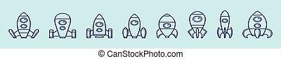 設計, 被隔离, 集合, 各種各樣, starship, 背景, 卡通, 矢量, 插圖, 圖象, models., 樣板, 藍色
