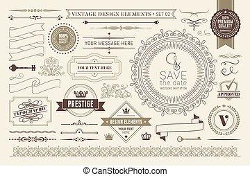 設計, calligraphic, elements.