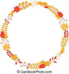 設計, scrapbooking, 離開, 花冠, 問候, 黃色, 秋天, 顏色, 矢量, 秋天, 卡片, 末梢, 紅色