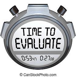 評价, 定時器, 詞, 時間, stopwatch, 評估