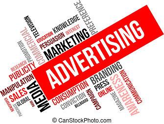詞, -, 做廣告, 雲