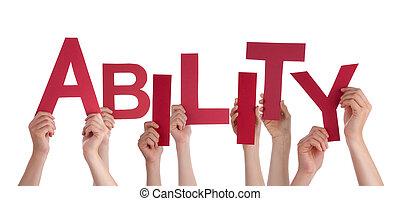 詞, 能力, 人們, 很多, 扣留手, 紅色