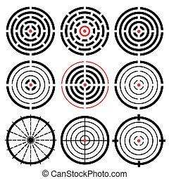 詳細, 不同, 集合, 目標, 高度, crosshairs., 矢量, 9