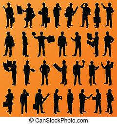詳細, 人們, 站點, 插圖, 主任, 老板, 黑色半面畫像, 矢量, 工人, 背景, 彙整, 建設, 經理, 工程師