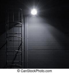 詳細, 工業, 牆, 場景, 明亮, 圖案, 逃跑, 闡明, 人物面部影像逼真, 發光, 享用机會, 緊急事件, 空間, 大, 結構, 鄉村, 燈, 背景, 黑色, 維護, 援救, 垂直, 火, 梯子, 黑暗, 遮蔽, 鑰匙, textured, 模仿, 樓梯, 發光, 建築物, 光, 灰色, 屋頂, 荒蕪, 面板, 夜晚, 樓梯, 燈籠