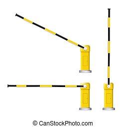 詳細, 障礙物, 汽車, 徵候。, 停止, 插圖, 矢量, 黑色, 黃色, 有條紋