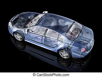 詳細, 鬼, backgound., 表示法, 一般, cutaway, 影響, 剪, side/rear, 黑色, 遠景, included., 轎車, 路徑, 觀點。, 汽車