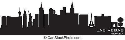 詳細, 黑色半面畫像, vegas, 矢量, skyline., 內華達, las