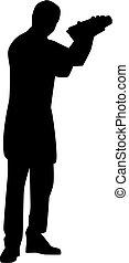 調酒師, 男服務員, 黑色半面畫像
