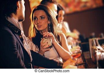 談話, 人, 婦女, 酒吧, 年輕