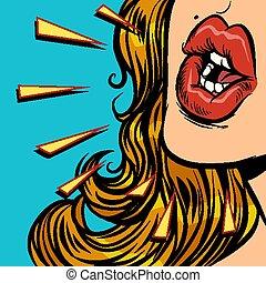 談話, 婦女, 嘴, 特寫鏡頭